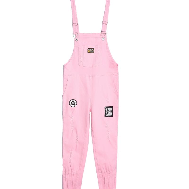 Джинсы женские Свободного покроя джинсовые подтяжки брюки женский лето 2017 весна и осень новый свободный корейский версии студент баской зауженные комбинезон
