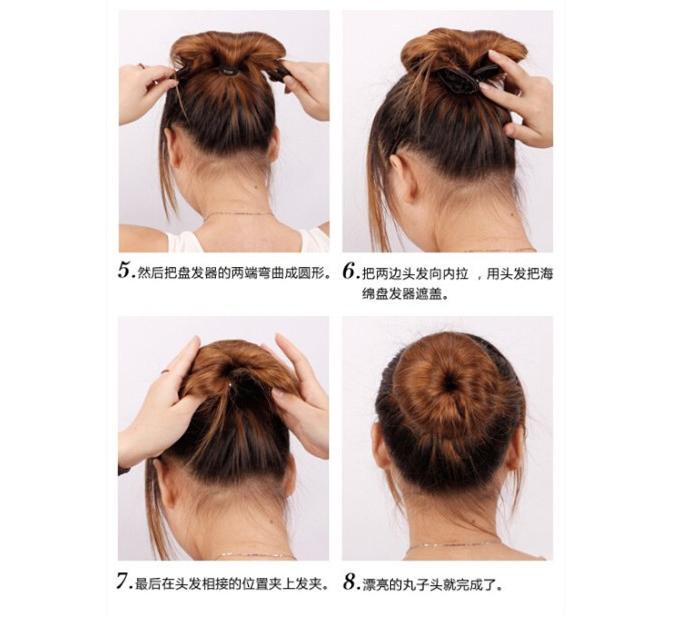 韩国丸子头bobo头美发工具海绵棒卷发盘发器头饰发饰套装小饰品图片