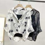 夏季雪纺衫吊带两件套2021新款女上衣蝙蝠袖韩版宽松显瘦短袖衬衫