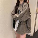 2021秋季新款日系韩版宽松棒球服bf风衣工装休闲外套女学生ins潮
