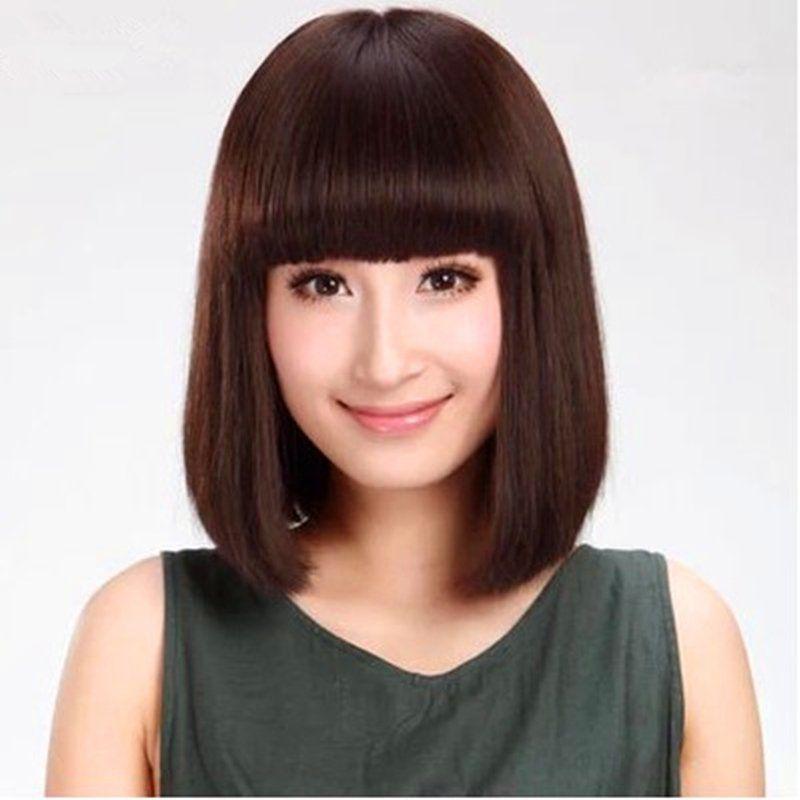 假发套女波波头齐刘海高温丝短直发深棕色整顶时尚流行夏季发型