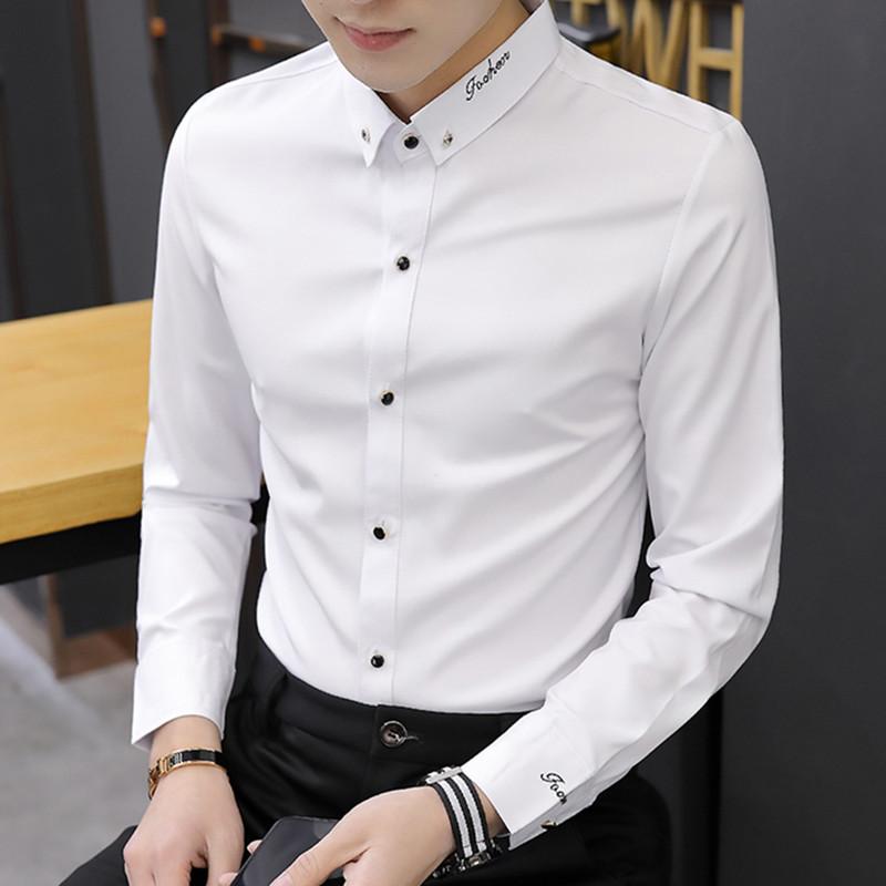 秋季长袖衬衫男士韩版修身薄款上衣服青年流行帅气发型师白色衬衣