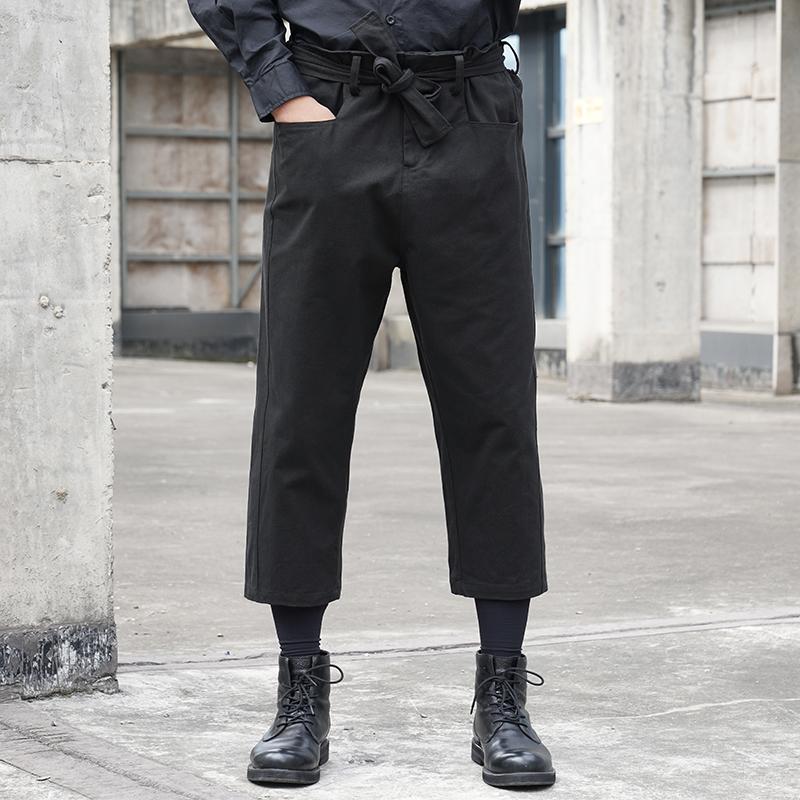 山本耀司风格直筒可调节腰带裤休闲暗黑小众潮流行走秀男发型师裤