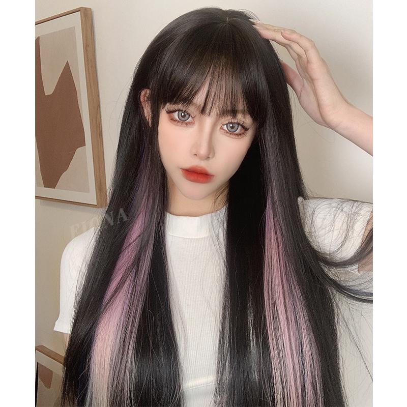 蓝色挑染假发女2021流行发型网红挂耳染长直发自然逼真全头套长发