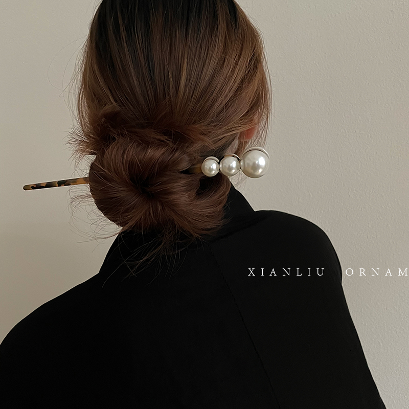 日常盘发珍珠一字发簪简约现代百搭丸子头发钗古风簪子发饰品头饰