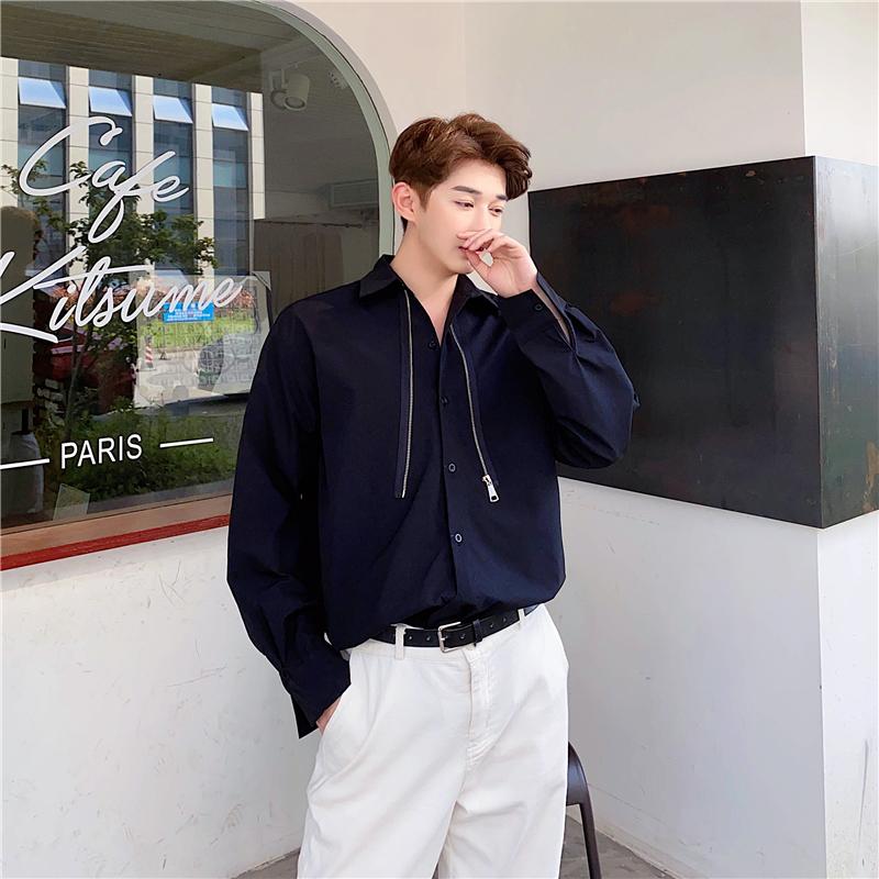 春夏季ins个性拉链设计韩版休闲长袖衬衫男宽松雅痞发型师衬衣潮