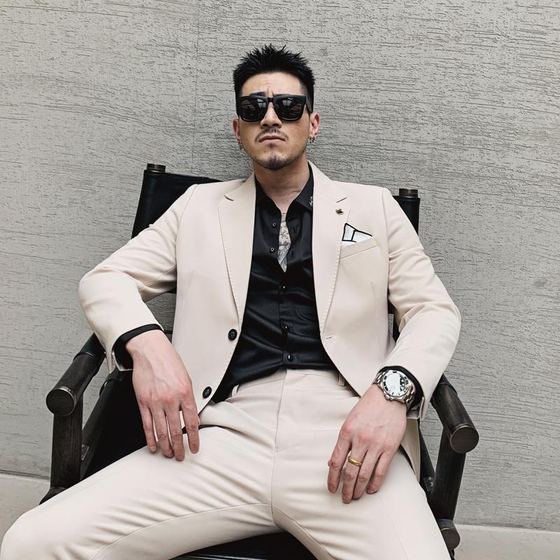 韩国炸街白色西装套装潮流雅痞帅气型男外套结婚发型师修身西服男