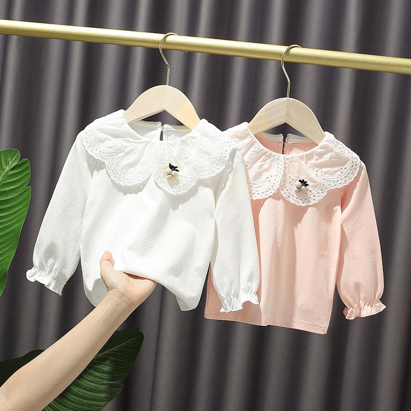 女宝宝打底衫2021秋季女童小童韩版洋气蕾丝边上衣婴幼儿长袖T恤