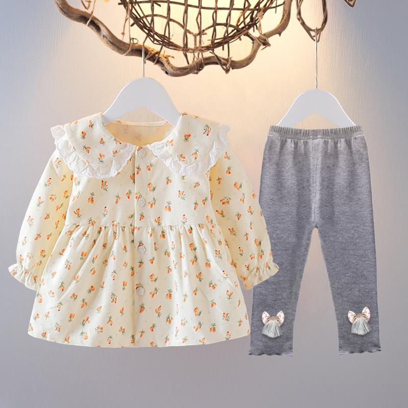 童装洋气女童秋季碎花套装韩版女宝宝两件套1-3岁婴儿春秋装6个月