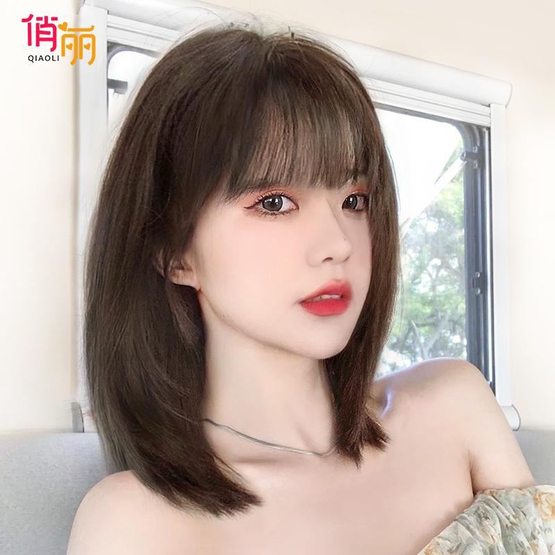 假发女短发自然全头套式网红夏季减龄锁骨发造型仿真中长发假发套