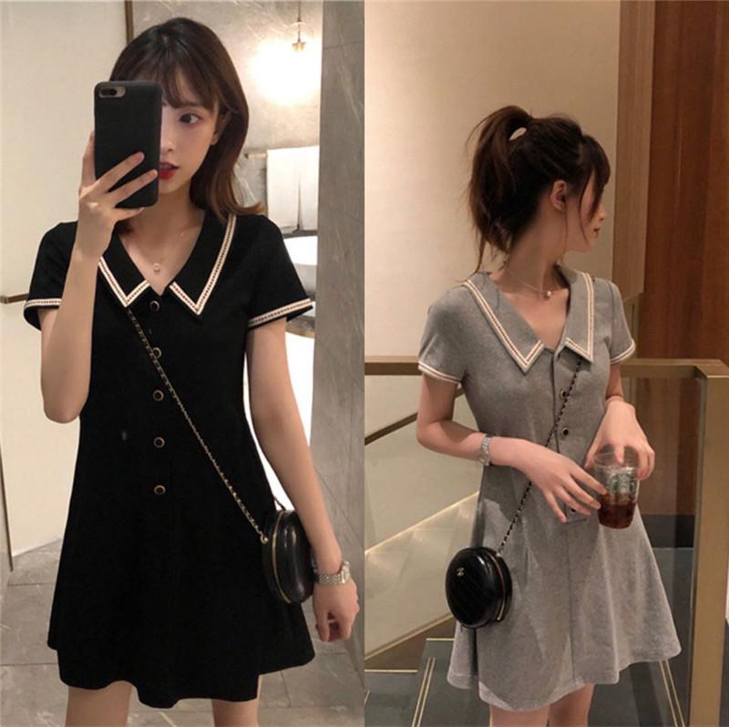娇小矮个子150显高145夏季新款XS女装155修身显瘦POLO领t恤连衣裙