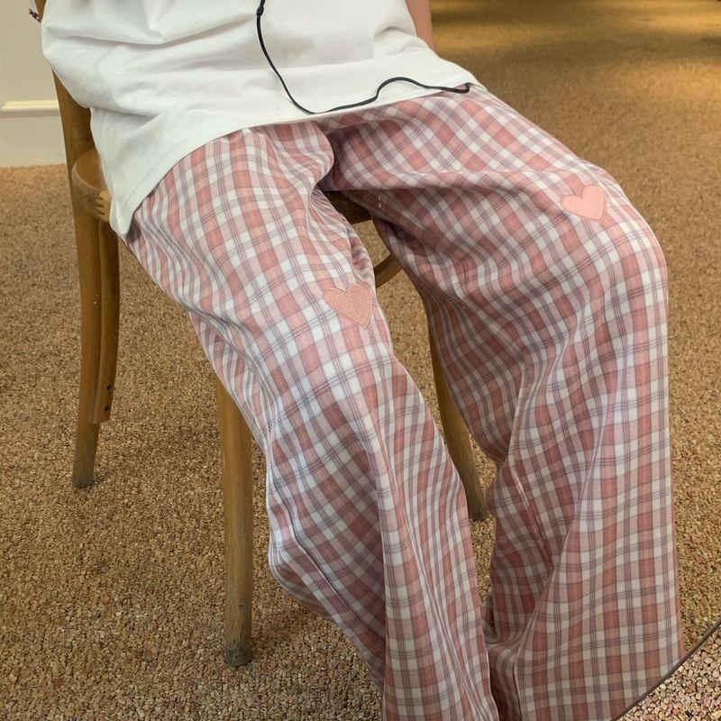 复古格子裤子女夏季薄款爱心设计感休闲长裤矮个子显瘦阔腿拖地裤