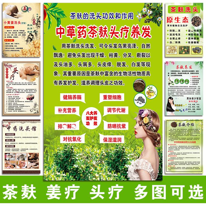 茶麸洗头广告姜疗海报头疗图片宣传画养发馆中药护发茶麸生姜洗头