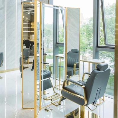 理发店网红镜子发廊专用三面落地镜3AM美发店不锈钢剪发镜台靠墙