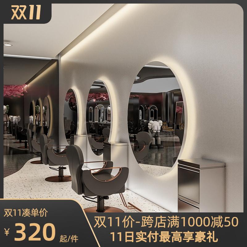 LED发廊单面落地烫染专用理发靠墙镜子3AM触控网红美发店镜台潮款