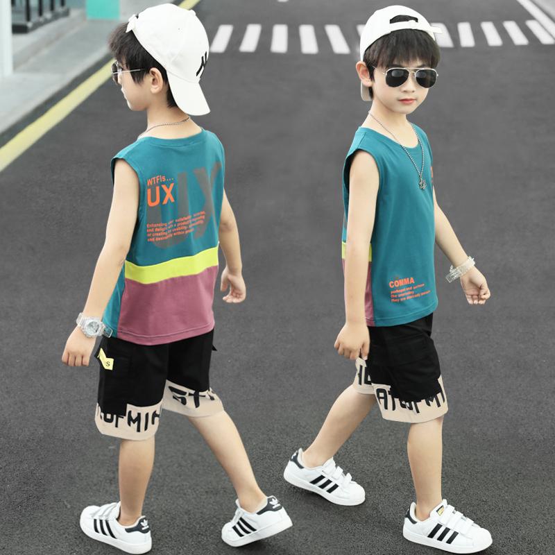 儿童男童帅气夏季无袖背心短裤运动套装2021新款大童男孩夏装薄款