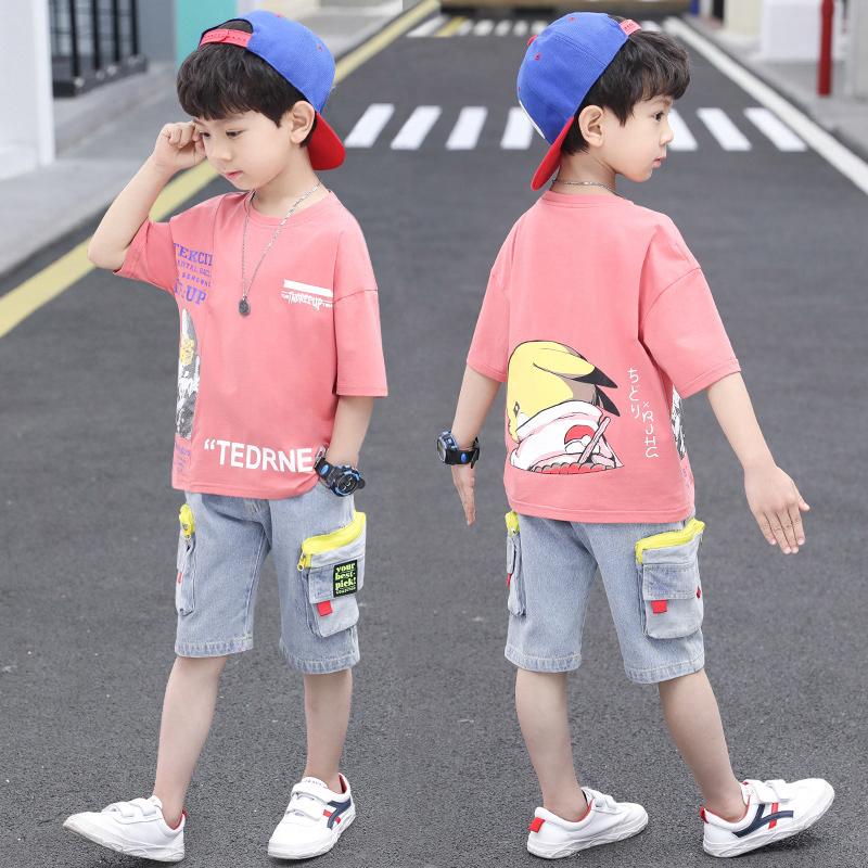 儿童装男童夏装套装2021年新款夏季中大童帅气男孩薄款短袖衣服潮