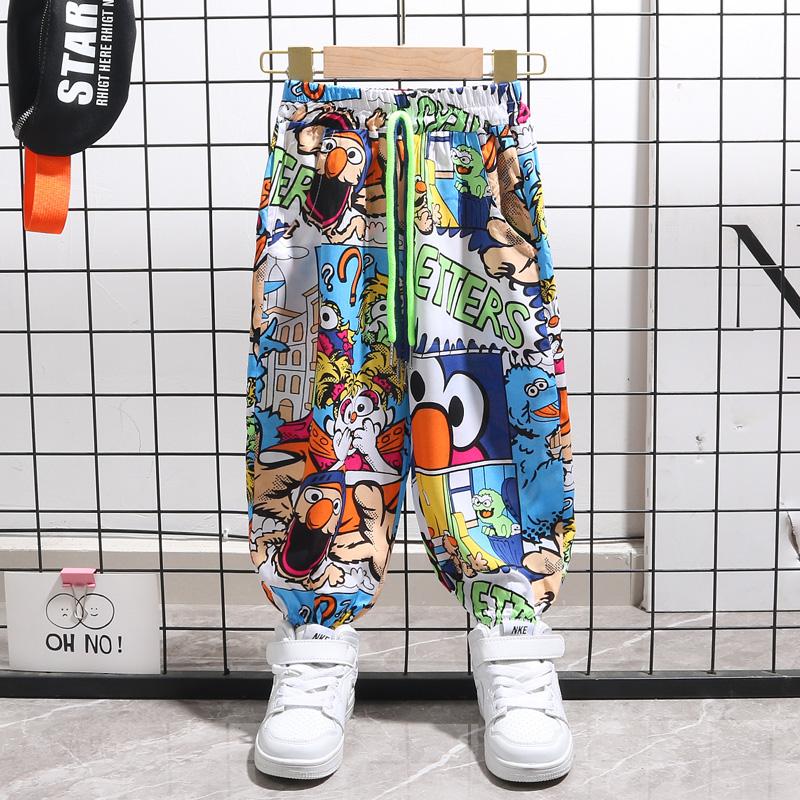 男童防蚊裤夏季薄款帅气时髦潮宝宝夏装小童冰丝棉绸炸街儿童裤子