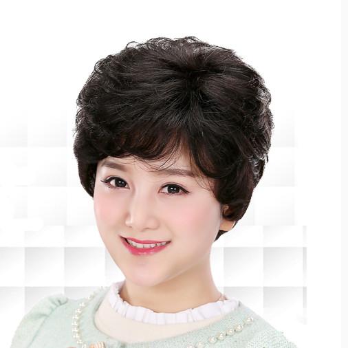 阿姨假发女短发中老年女卷发中年妈妈真人假发逼真女士假发套