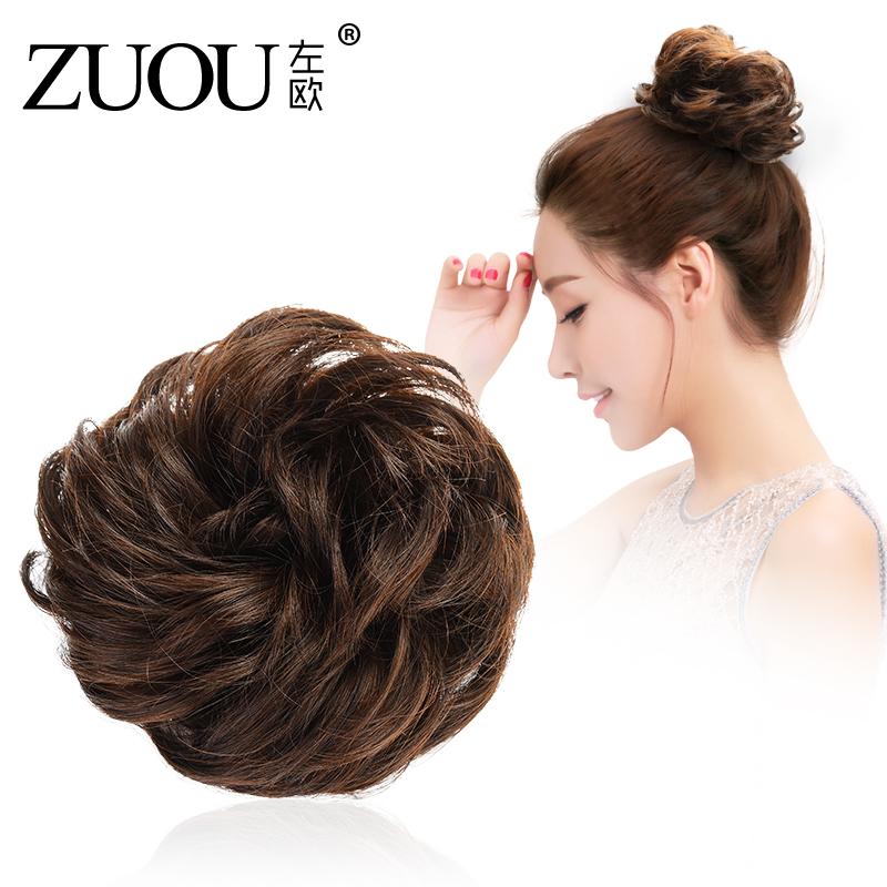假发发圈短发头饰女自然蓬松半丸子头卷发包仿真盘发扎头发花苞头