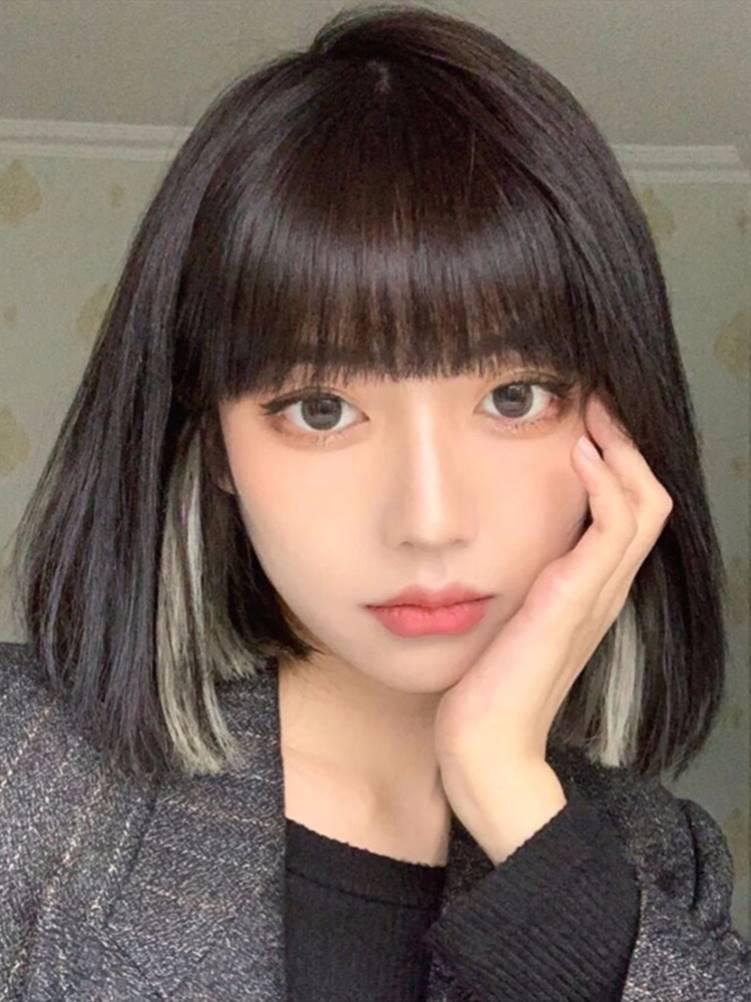 圆脸学生主播女生女中2021年流行仿真假发短发少女头顶女夏发型