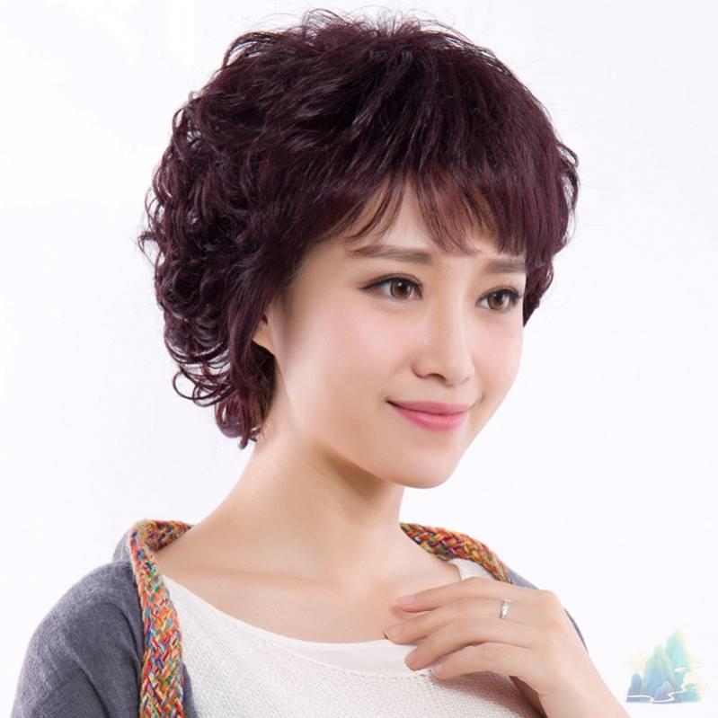 减龄发型卷发蓬松黑色可爱2021年流行仿真假发短发女生网红妈妈