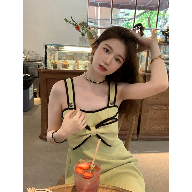 胖子王老板 甜美蝴蝶结绿色连衣裙女夏法式小香风吊带气质背心裙
