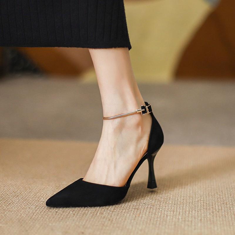 法式高跟鞋女细跟2021春夏新款大东气质尖头一字带包头凉鞋女单鞋