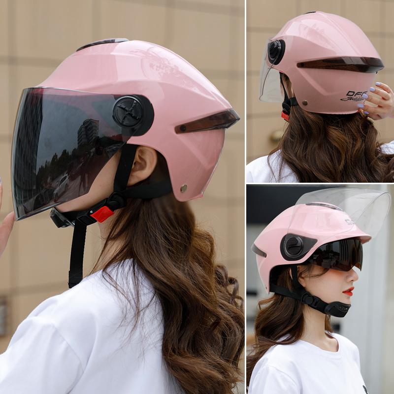 DFG电瓶电动车头盔灰冬夏季防晒男女半盔四季通用轻便儿童安全帽