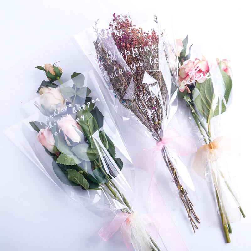 全透明英文多支袋单支袋玫瑰袋简单大方时尚鲜花满天星包装袋套子