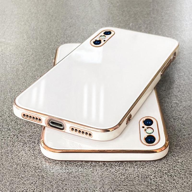 苹果x手机壳2021新款电镀iphonex直边xr硅胶软壳xsmax简单大方防摔镜头全包男女纯色超薄方形情侣款魔方外套