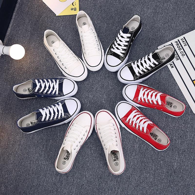 夏季2021经典帆布鞋女学生韩版低帮平底鞋情侣单鞋黑白系带板鞋男