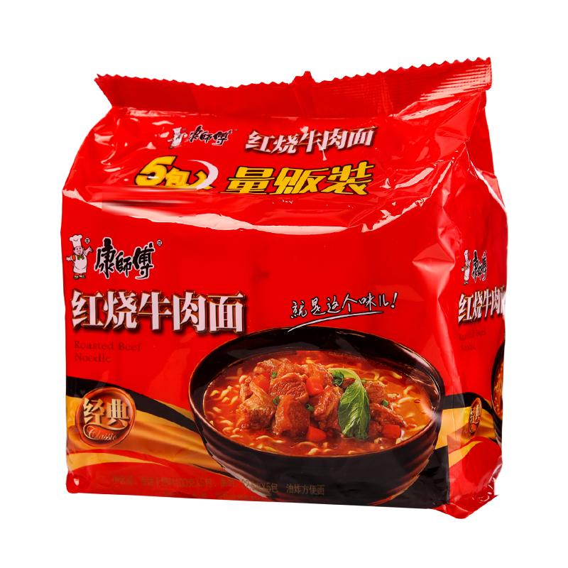 康师傅 经典红烧牛肉面 100g*5包/组
