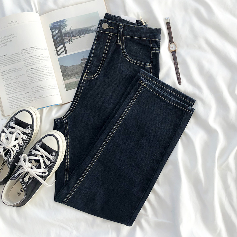 RENA经典款复古基础高腰卷边明线装饰直筒修身百搭显瘦长裤牛仔裤