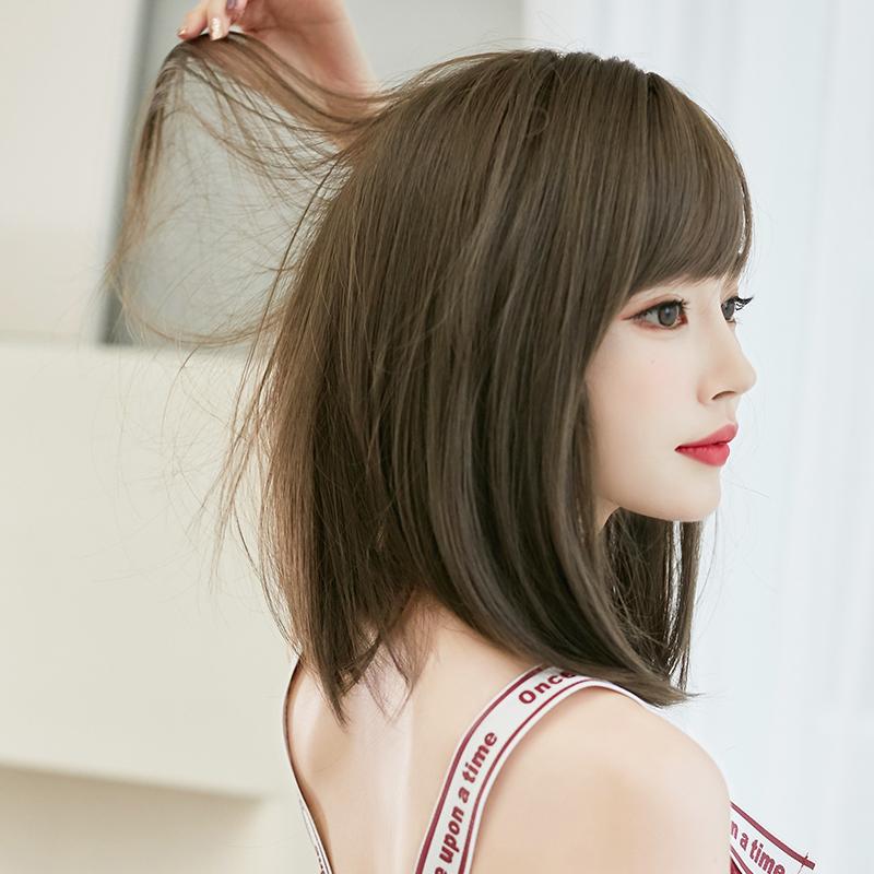 假发女网红齐肩短发中长发圆脸直发短发造型修脸自然蓬松假发套