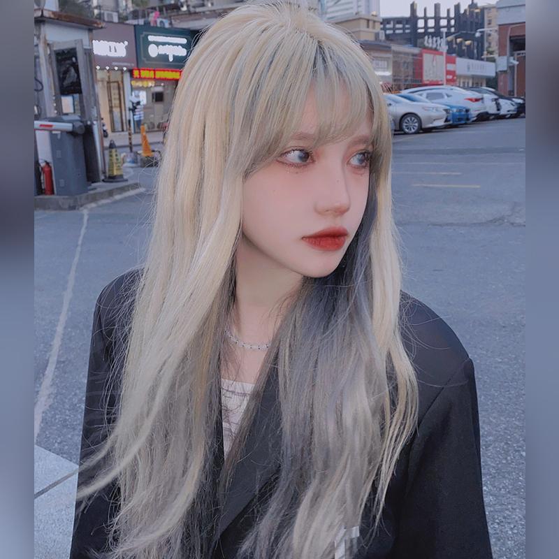 亚麻金雾霾蓝假发渐变色长发圆脸修脸浅蓝色时尚发型全头套