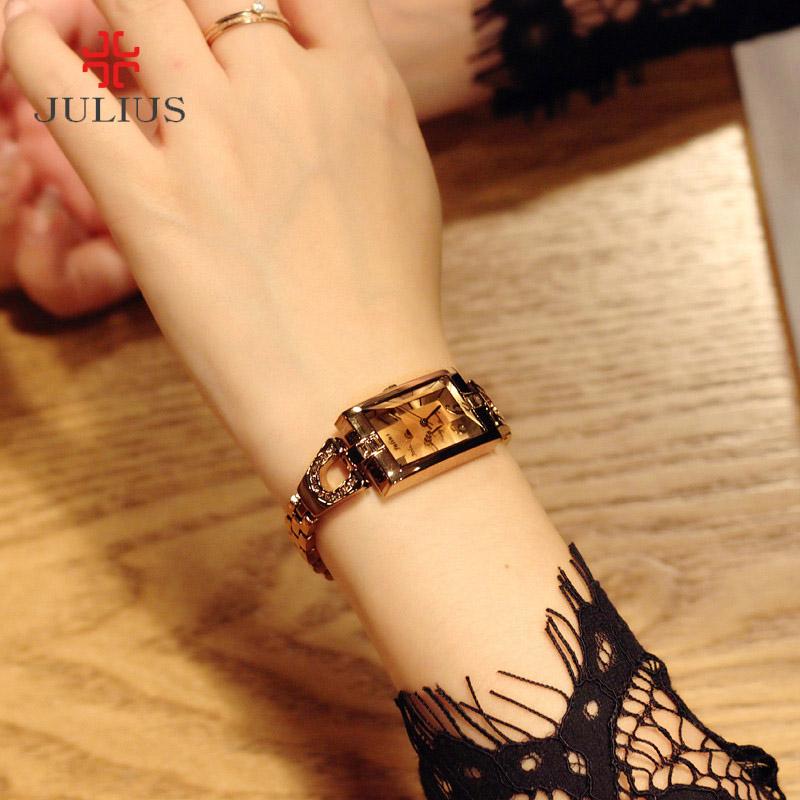 聚利时时尚潮流手表女防水百搭女士手表手链表镶钻钢链方型女手表