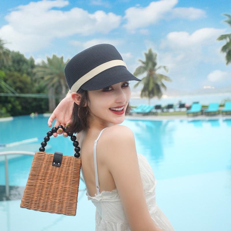 夏天平顶鸭舌帽骑士草帽女短檐太阳帽子英伦时尚夏季短发网红棒球