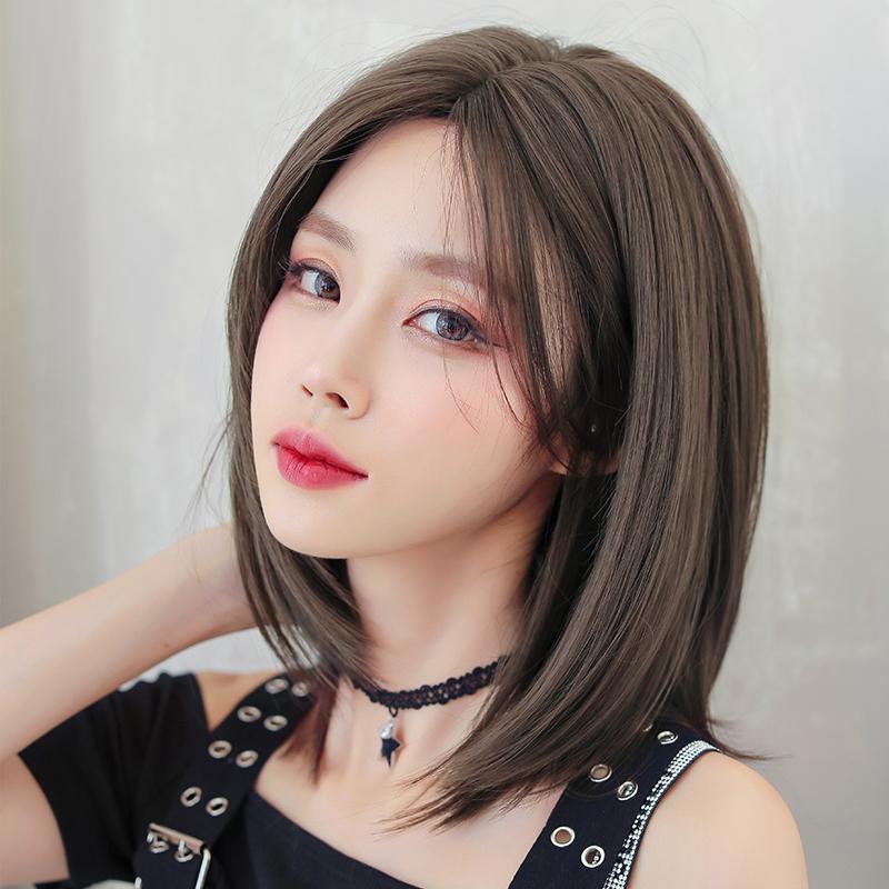 假发女中长发自然中分修脸短直发全头套式网红锁骨发内扣短发造型