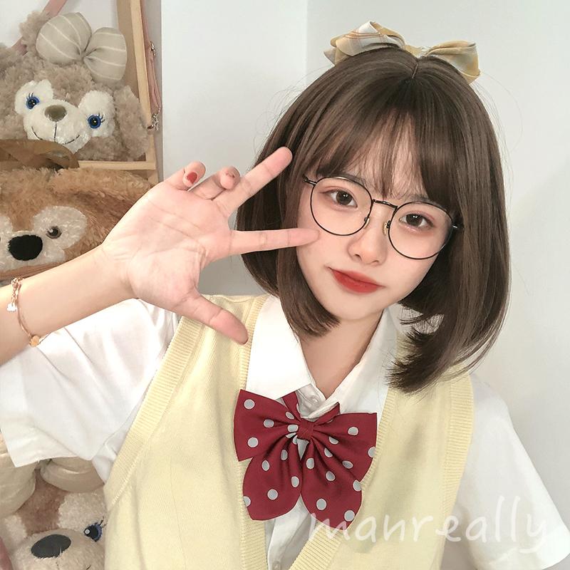 漫真假发女短发蓬松减龄中短发bobo韩式发型女生锁骨全头套现货
