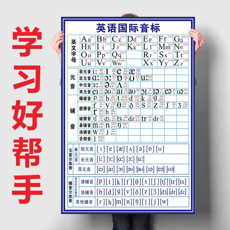 英语音标挂图48个国际音标表墙贴 26个字母发音挂图小初中英文