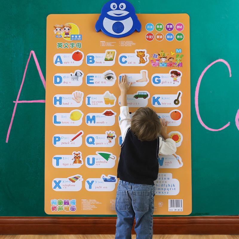 26个英文字母表有声早教挂图拼音幼儿童宝宝启蒙发声英语音标墙贴