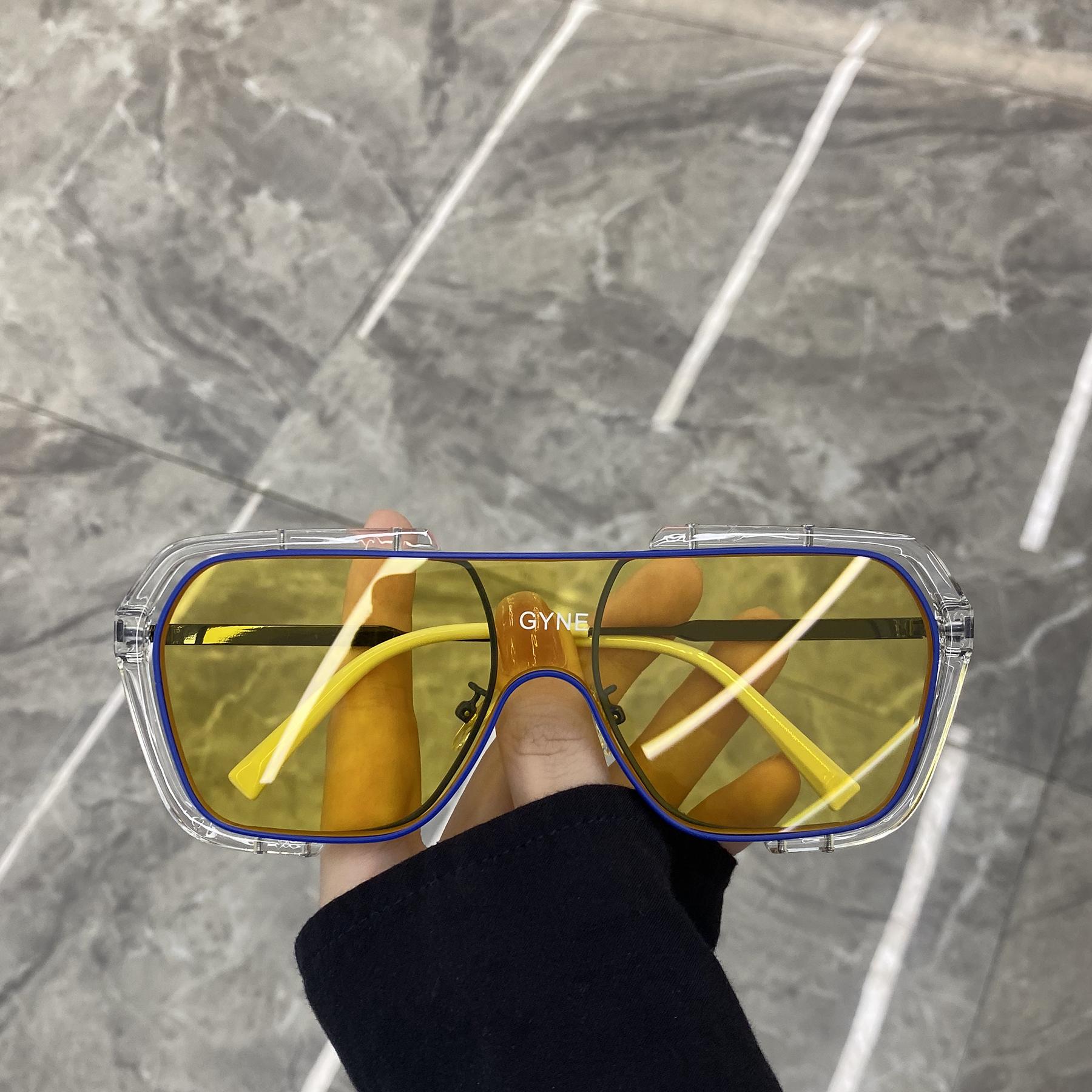 超酷不规则方框一体大框太阳镜蹦迪眼镜素颜网红街拍墨镜女圆脸潮