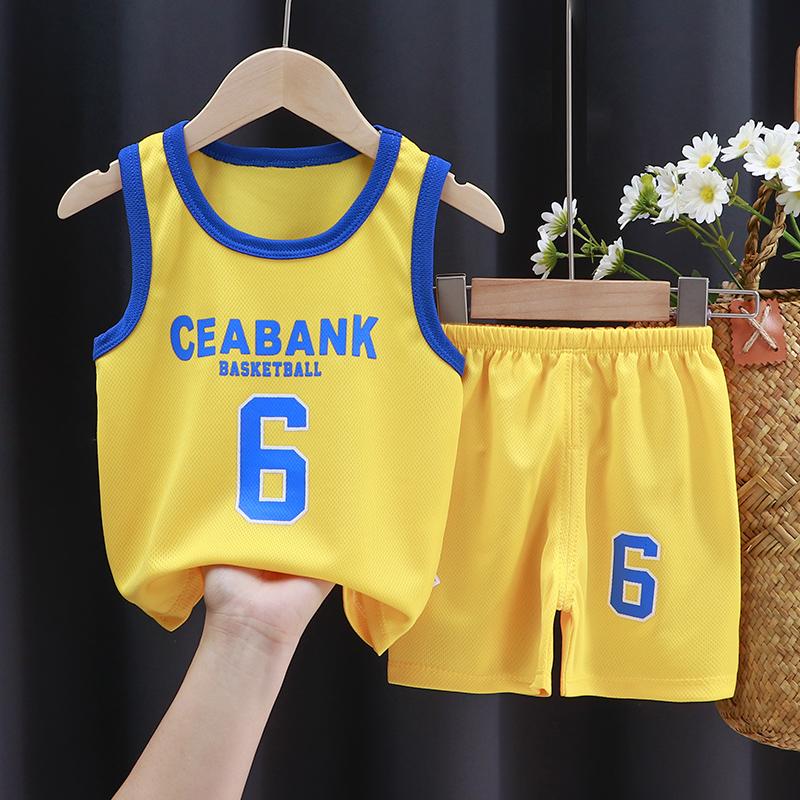 儿童夏季无袖套装男童背心短裤篮球服女童速干运动服两件套1-9岁