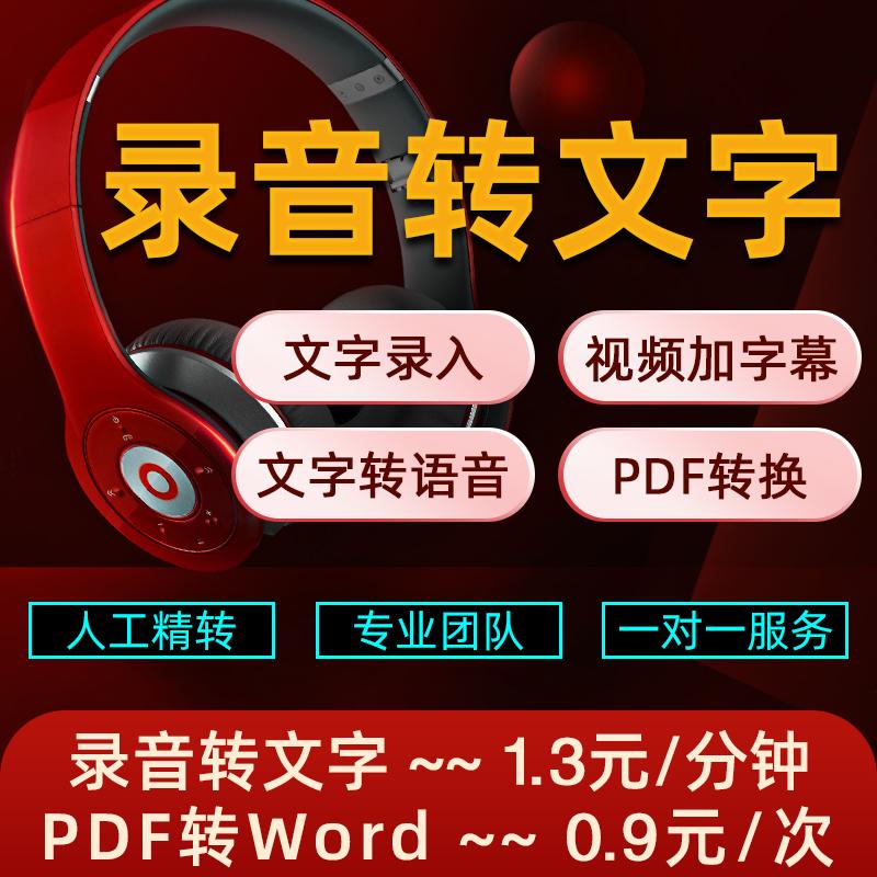 人工语音录音整理图片视频转文字录入打字幕速记pdf转换word服务
