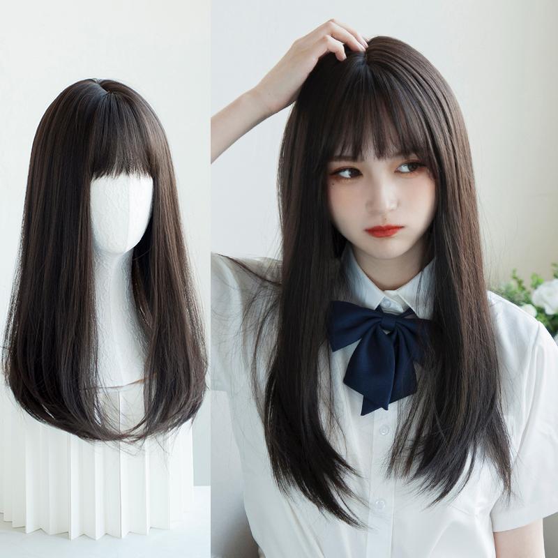 假发女中长发锁骨发 空气刘海自然蓬松短发圆脸修脸长直发全头套