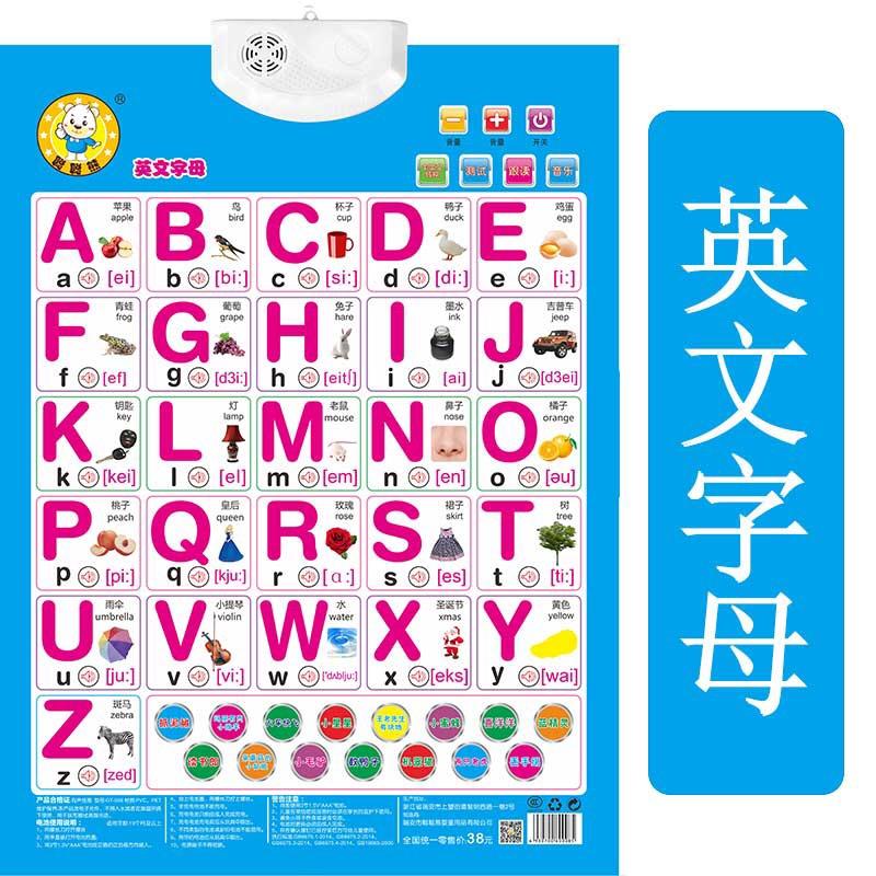 儿童宝宝学26个英语英文字母表挂图有声拼音英标发音图片墙贴全套