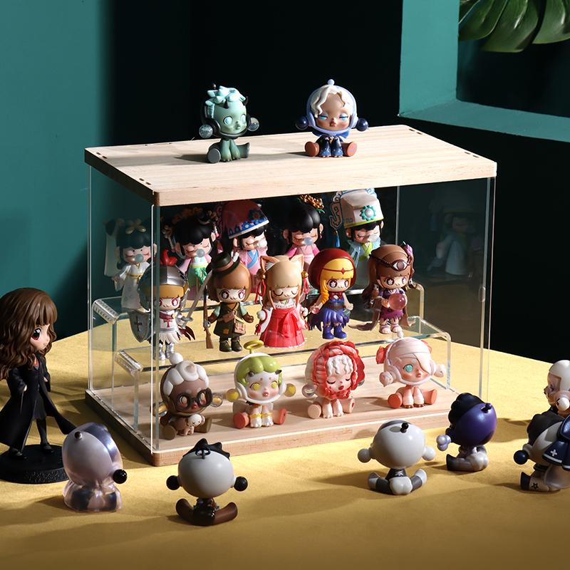 盲盒收纳展示架亚克力泡泡玛特公仔popmart罩乐高透明手办娃娃柜