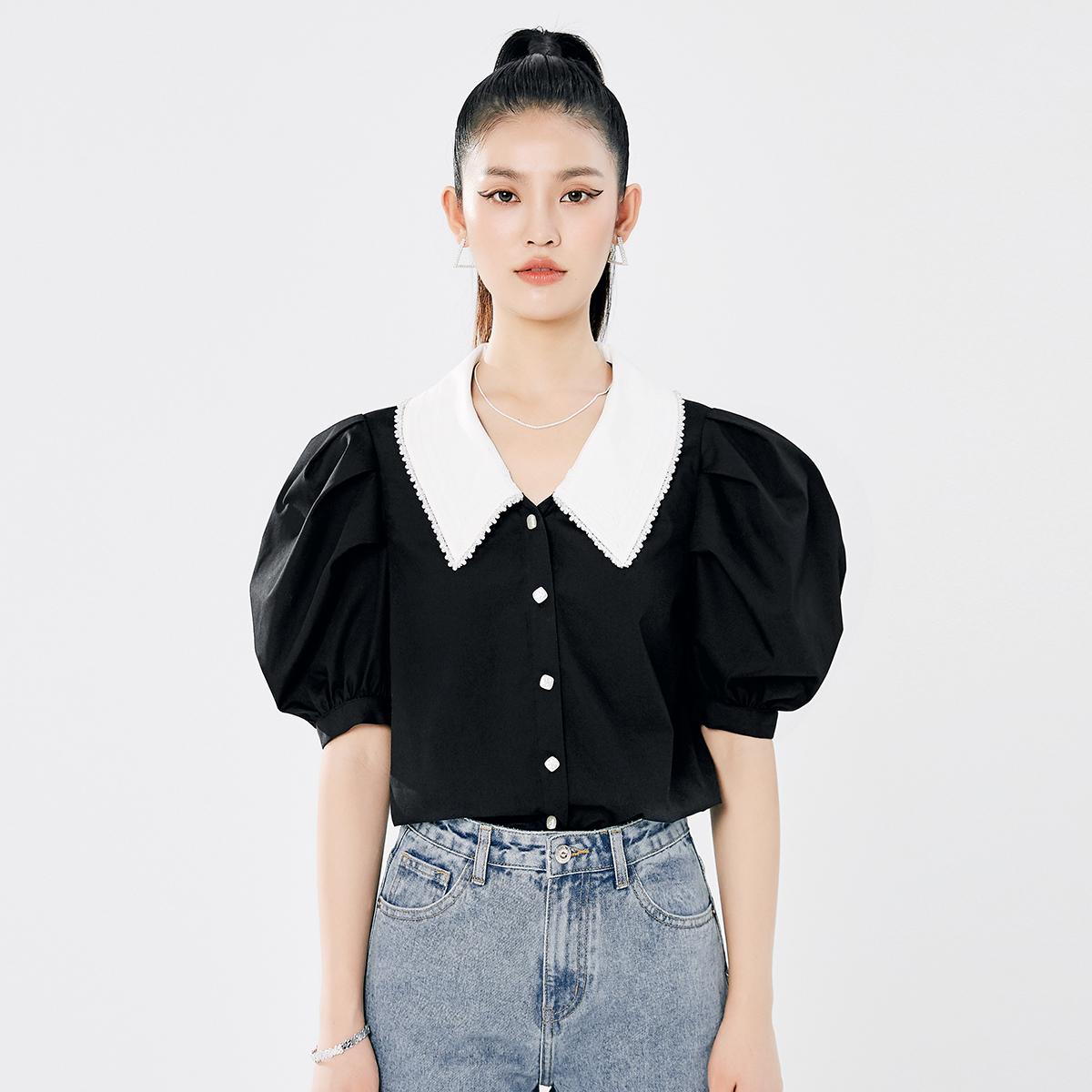 【小香风衬衫】V字娃娃领 泡泡袖小香风衬衫 V213CSG007