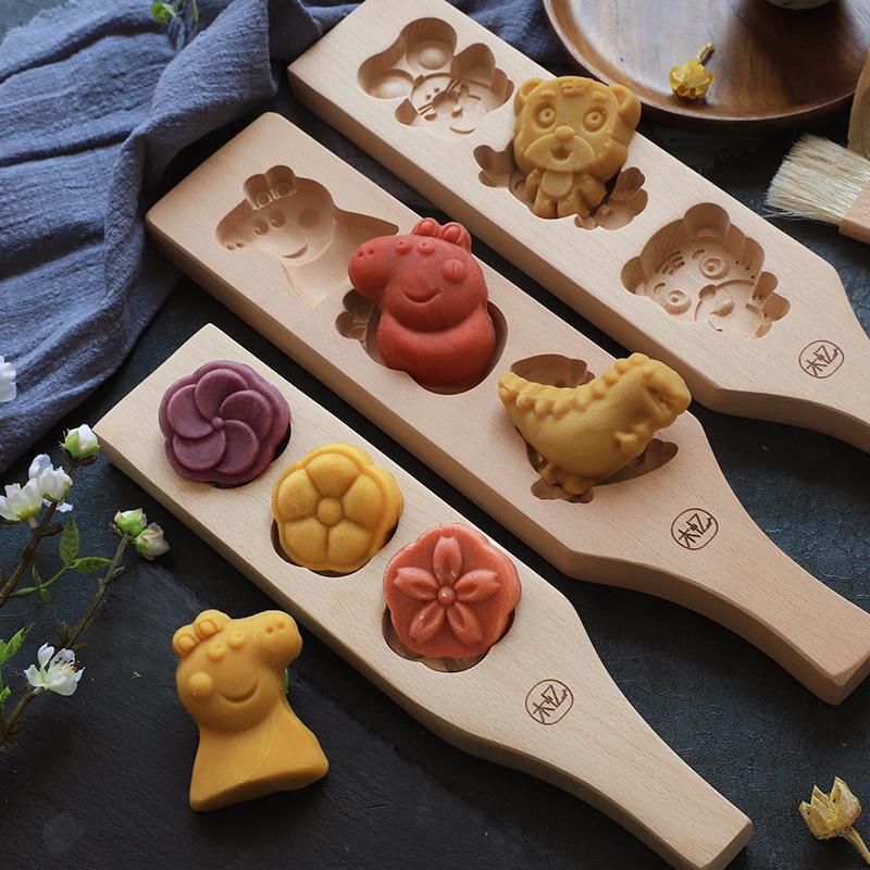 木忆月饼模型印具木质面食花样绿豆糕点心做印冰皮蒸馒头家用模具